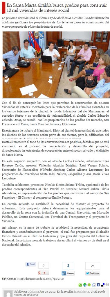 En Santa Marta alcaldía busca predios para construir 10 mil viviendas de interés social   deracamandaca.com